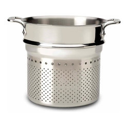 All Clad - All Clad Pasta Strainer Insert - The stainless pasta colander insert is a convenient add-on to your All-Clad 7 quart stock pots. 2 riveted loop handles make it easy to prepare stock, and remove potatoes or pasta from boiling water. Perforations along the bottom and up the sides promote quick draining.                                                                                                                                               -Durable heavy-gauge stainless construction