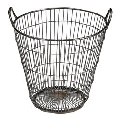 Iron Wire Basket, Stainless Steel - Delivering interest and texture, this iron wire basket is a lovely home accent. The round basket is formed from a series of vertical wires that are spaced apart as they extend up the sides of the basket. Intermittent horizontal wires anchor their vertical counterparts while a thick iron rim at the top supports the wires and two handles for easy carrying. Perfect as a small waste basket or for decorative storage, this iron wire basket is a charming accessory.