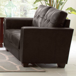 Coaster - Enright Loveseat, Black - Stylish and functional. Our Enright collection is available in black, brown and white Bonded Leather Match G��_��_ neutral colors making it easy to match any decor with. You and your guests can enjoy plush and comfortable seating on top of fiber filled back cushions. Tufted seats and back, straight arms and a simple design will give your living room a contemporary look.