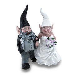 Zeckos - Wedding Couple Mr. and Mrs. Bride and Groom Garden Gnome Statue 15 Inch - Prepare the garden, patio or backyard for the wedding party of the year This gnome couple has finally tied the knot. There's no love quite like gnome love, and this happy couple proves it Mr. And Mrs. Gnome are all smiles as they stroll arm in arm in their matrimonial attire. This whimsical cold cast resin sculpture features a beautifully hand-painted finish, and is the perfect size for your garden oasis, patio, entryway or displayed among your potted greens inside at 14.5 inches high, 12 inches long and 8 inches wide (37 x 30 x 20 cm). This gnome couple statue makes a wonderful gift just for yourself, or for a fellow gnome fan, and is sure to be admired