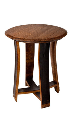 Alpine Wine Design - Barrel Top Accent Table - Looking to add some rustic style to your space? You'll want this look lock, stock and barrel. The top is made from a reclaimed wine barrel and the legs are curved staves finished to show off the previous grapes and gorgeous grains.