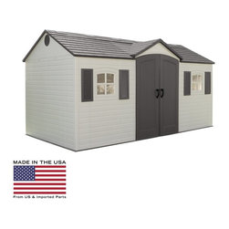 Lifetime - Lifetime 15 x 8 ft. Outdoor Garden Shed Multicolor - 6446 - Shop for Sheds and Storage from Hayneedle.com! Additional features:4 corner shelves for storageTwo 90 x 9-inch shelvesTwo 16-inch peg strips with tool hooksExterior dimensions: 14.6W x 7.6D x 8H inchesInterior dimensions: 14.5W x 7.5D x 7.9H feetDoor dimensions: 4.6W x 6.3H feet The perfect backyard all-purpose building you can use the Lifetime 15 x 8 Foot Outdoor Garden Shed as a gardening shed pool house workshop or tool shed. Boasting 749.5 cubic feet of space this shed from Lifetime Sheds will store your riding lawnmower snow mobile and all large gardening equipment. Constructed from high-density polyethylene (HDPE) plastic with powder-coated steel reinforcements this sturdy shed is weather- and- rust-resistant and designed to withstand the harshest elements for years to come. And since this shed is UV-protected and stain-resistant it requires no painting or maintenance so you have more time to yourself.Double doors allow easy access to the inside while an internal spring latch interior deadbolts and an exterior padlock loop ensure the security of your property. Two lockable sliding windows six skylights and two screened vents let in enough natural light so you can easily make your way around during the day. Four corner shelves two 90 x 9-inch shelves and two 16-inch peg strips with tool hooks allow you to create the perfect storage area to suit your needs while decorative shutters give the shed a cozy look. This shed comes with a 10-year limited manufacturer's warranty. Assembly is a weekend project for one or two people.About Lifetime ProductsOne of the largest manufacturers of blow-molded polyethylene folding tables and chairs and portable residential basketball equipment Lifetime Products also manufactures outdoor storage sheds utility trailers and lawn and garden items. Founded in 1972 by Barry Mower Lifetime Products operates out of Clearfield Utah and continues to apply innovation and cutting-edge technology in plastics and metals to create a family of affordable lifestyle products that feature superior strength and durability.