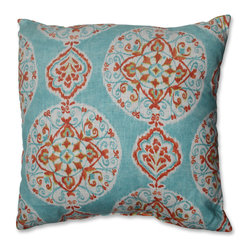 Pillow Perfect - Pillow Perfect Mirage Medallion 18-inch Throw Pillow - Add a splash of daring color to your decor with this medallion-themed Pillow Perfect throw featuring a knife edge. Stylishly rendered with colors of turquoise and coral,this lively decorative pillow will brighten up any living room or bedroom decor.
