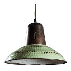 Goshen Hanging Lamp - Vintage Green - Made from Hand formed steel