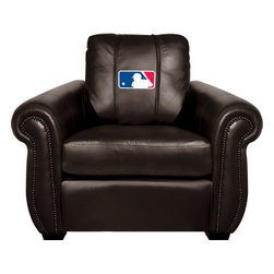 Dreamseat Inc. - MLB Chesapeake Brown Leather Arm Chair - Check out this Awesome Arm Chair. It's the ultimate in traditional styled home leather furniture, and it's one of the coolest things we've ever seen. This is unbelievably comfortable - once you're in it, you won't want to get up. Features a zip-in-zip-out logo panel embroidered with 70,000 stitches. Converts from a solid color to custom-logo furniture in seconds - perfect for a shared or multi-purpose room. Root for several teams? Simply swap the panels out when the seasons change. This is a true statement piece that is perfect for your Man Cave, Game Room, basement or garage.