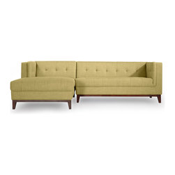 Kardiel - Kardiel Harrison Modern Sofa Chaise Sectional-Left Face, Lemon Grass Twill - Harrison is deliberately structured for a comfortable seating experience. Generously filled & tufted cushions are coupled with firm supportive back and arms. Your days of adjusting and straightening the pillows may be over as the affixed cushion design maintains Harrison's tailored appearance, even in the most active social settings. The tufting of this iconic mid-century design has been updated with the low maintenance blind button technique. Presented in precise proportion to the original on the back, as well as the interior sides of the arms and the seat. True to the original, the front edge of the seat cushion is upholstered in a 1-piece design, seamless and piping free for a clean appearance. The extending chaise is built as one unit into the sofa element providing an exceptionally clean side profile (see images). The hand-crafted quality of Harrison features kiln dried solid hardwood legs. A foam wrapped, kiln dried wood frame provides the structure from which the entire sofa is built upon. Harrison's durable tailored twill fabric options reduce the unsightly appearance of excessive surface piling and fuzzing.