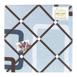 Sweet Jojo Designs - Geo Blue Fabric Memo Board - The Geo Blue Fabric Memo Board with button detail is a great way to display photos, notes, and postcards on your child's wall. Just slip your mementos behind the grosgrain ribbon to create an engaging piece of original wall art. This adorable memo board by Sweet Jojo Designs is the perfect accessory for the matching children's bedding set.