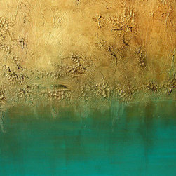 "Earth Sky (Original) By K. Rishay Moehr - EARTH SKY is a highly textured, metallic gold and turquoise blend. It is an abstract art painting. It is DEEP edged (1.5"") and ready to hang on a nail/hook right out of the box."