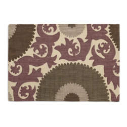 Purple & Gray Giant Suzani Custom Placemat Set - Is your table looking sad and lonely? Give it a boost with at set of Simple Placemats. Customizable in hundreds of fabrics, you're sure to find the perfect set for daily dining or that fancy shindig. We love it in this oversized suzani of sunbursts & flames swirling in plum, gray & taupe on heavy basketweave cotton.  a statement for spaces modern, boho, & eclectic alike.