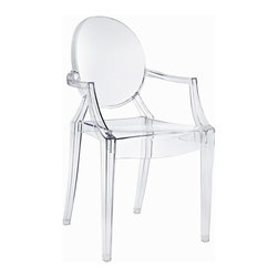 IMPORT LIGHTING & FUNITURE - Louis Ghost Arm Chair (Set of 2), Clear - These stylish chairs have many uses in the home, office, cafe, reception area, or training room. They feature a clean, simple form sculpted to fit the body. Like round area rugs, the softer, curvier edges on the chair combined with its clear construction allow it to present the illusion of a larger room by softening otherwise harsh corner angles.