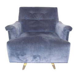 Pre-owned Mid-Century Periwinkle Velvet Swivel Chair - This fabulous swivel chair in periwinkle velvet is a wonderful find. With a classic mid-century modern base and a comfy seat. Perfect for curling up with a good book and a glass of wine!