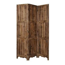 Winchester Screen - Bring a little of the tropics home with you with this three-panel wood screen that resembles something you might find in a Pacific island cabana. Go ahead and fling your towel over it and see for yourself.