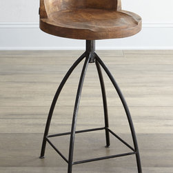 Arteriors - Arteriors Wooden Bar Stool - I love this fabulous chunky seat with hand-carved detailing on those simple cast iron legs. It would match the rustic farmhouse look perfectly.