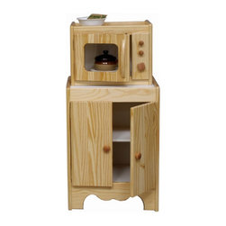 """Little Colorado - Kid's Kitchen Microwave Oven and Pantry - Expand the fun of your child's kitchen by adding a pantry and microwave oven. The microwave fits neatly on top of the matching pantry. Inside, the pantry offers an adjustable shelf for flexible storage of pots, pans, and other toys. Open the door of the microwave oven to reveal a swivel base that really turns. A shatterproof acrylic window in the door lets kids see what's cooking. Knobs on the control panel turn for realistic play. Available in natural or white with pink and pastel green accents. Pastel also available in Medium Density Fiberboard (MDF) construction. Features: -Shown above in natural -Microwave oven is designed to sit on top of the matching pantry -The pantry's adjustable shelf creates a flexible storage space -The microwave oven's inner base swivels and knobs turn for realistic play -Pastel finishes also available in Medium Density Fiberboard (MDF) construction -Pastel color combinations: soft pink and pastel green doors -Fully assembled -Natural finish is easy to clean, color varies according to construction material -Top quality, non-toxic, environmentally friendly and easy-to-clean acrylic finish Dimensions: -Microwave oven: 27"""" H x 18"""" W x 15"""" D -Pantry: 15"""" H x 14"""" W x 12"""" D"""