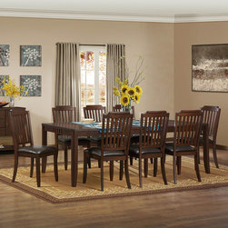 Homelegance - Homelegance Dickens 9 Piece Dining Room Set in Rich Brown - Vertical slat back chairs flank the tables of the transitionally styled Dickens Collection. Finished in a rich brown and featuring hints of Arts & Crafts styling  and offered in traditional or counter height  the casual dining group will be a perfect fit in your home.