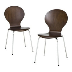 Modern Stacking Chair, Espresso