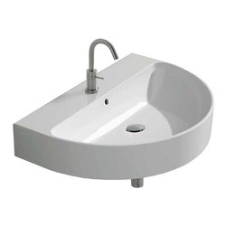 "WS Bath Collections - Normal Wall Mounted / Vessel Bathroom Sink, 19.6"" L X 14.5"" W - Normal WS118, 19.6"" x 14.5"" x 4.7"", Wall Mounted / Vessel Bathroom Sink in Ceramic White"