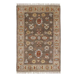 Caspian CAS-9900 Brown Rug - 2'x3' - Caspian CAS-9900 Brown: Traditional rugs inspired by Persian rugs, Antique Oriental rugs or other traditional area rugs are available now. ModernRugs. om is now also featuring traditional rug designs. Traditional Persian and Oriental rugs from ModernRugs. om are now available in a variety of colors and styles, and complement any space. Our traditional Persian rugs provide an elegant look. These Traditional antique Oriental rugs are timeless and add a touch of class to your home. This Southwestern area rug is Hand Knotted in India with 100% New Zealand Wool. The specific colors of this rug include Brown, Tan, Burgundy, Pale Sea Foam, Gold. he primary color of this rug is brown.