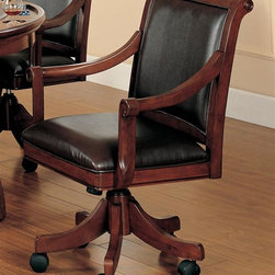 Hillsdale - Palm Springs Caster Game Chair - Medium brown cherry color. Add panache to your game room with Hillsdale Furniture's Palm Springs Game table and chairs. Finished in a medium brown cherry with brown leather seat cushions, this set combines comfort with casual living and functionality. With a transitional half sphere base and a clean rectangle chair back chair with arms, this multi-function table offers a dining surface on one side, a leather topped game surface on the other, as well as storage, checkers and backgammon game surfaces underneath the top. Composed of solid woods, climate controlled wood composites, and veneers, this ensemble can find a home in your game room, den, or kitchen. Complete your game room d���cor with the matching bistro table and barstools. 26.25 in. W x 26 in. D x 37-39.5 in. H