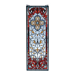 """Meyda Tiffany - 11""""W X 32""""H Versaille Quatrefoil Stained Glass Window - Delicate leaves and vines surround a four pedaled medallion made of 454 pieces of hand cut Pomegranate and Frosty Blue stained art glass with flourishes of Wispy White and 27 Amber glass jewels flowers. Handcrafted utilizing the copper foil construction process, this Tiffany style window also comes with a solid brass hanging chain and brackets"""