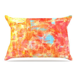 """Kess InHouse - Ebi Emporium """"Pastel Jungle"""" Orange Red Pillow Case, King (36"""" x 20"""") - This pillowcase, is just as bunny soft as the Kess InHouse duvet. It's made of microfiber velvety fleece. This machine washable fleece pillow case is the perfect accent to any duvet. Be your Bed's Curator."""