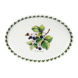 Portmeirion - Portmeirion Pomona Classics Oval Plate/Steak Platter - 514133 - Shop for Plates and Dishes from Hayneedle.com! About PortmeirionStrikingly beautiful eminently practical refreshingly affordable. These are the enduring values bequeathed to Portmeirion by its legendary co-founder and designer Susan Williams-Ellis. Her father architect Sir Clough Williams-Ellis was the designer of Portmeirion the North Wales village whose fanciful architecture has drawn tourists and artists from around the world (including the creators of the classic 1960s TV show The Prisoner). Inspired by her fine arts training and creation of ceramic gifts for the village's gift shop Susan Williams-Ellis (along with her husband Euan Cooper-Willis) founded Portmeirion Pottery in 1960. After 50+ years of innovation the Portmeirion Group is not only an icon of British design but also a testament to the extraordinarily creative life of Susan Williams-Ellis.The style of Portmeirion dinnerware and serveware is marked by a passion for both pottery manufacturing and trend-setting design. Beautiful tactile nature-inspired patterns are a defining quality of Portmeirion housewares from its world-renowned botanical designs modeled on antiquarian books to the breezy natural colors of its porcelain and earthenware. Today the Portmeirion Group's design legacy continues to evolve through iconic brands such as Spode the Pomona Classics collection and the award-winning collaboration of Sophie Conran for Portmeirion. Pomona for Portmeirion:Classical in both its inspiration and its style the Pomona Collection from Portmeirion Group is a garden of earthly delights. Named for the ancient Roman goddess of fruit and abundance its lifelike patterns and fruit motifs are inspired by a collection of early 19th-century books of hand-colored botanical drawings. The Pomona Collection was introduced in 1982 by legendary designer and Portmeirion co-founder Susan Williams-Ellis whose iconic garden- and botanical-themed designs are still among the world's most popular casual tableware motifs.The Pomona Collection's intricately detailed botanical drawings feature green leaf borders and multi-color fruit displays on a background of high-fired white earthenware. Each distinctive motif bears an elegant cursive title to indicate its botanical origins. These include The Hoary Morning Apple The Teinton Squash Pear The Wild Blackberry The Roman Apricot Grimwoods Royal George (Peach) and The Late Duke Cherry. Together the multiple motifs and dishes of the Pomona Collection of serveware dinnerware and drinkware create bountiful opportunities for mixing and matching sets. Made of dense earthenware these pieces are dishwasher- microwave- freezer- and oven-safe (to 350 F). Give nature its fullest expression in every season and setting with the Pomona Collection from Portmeirion.