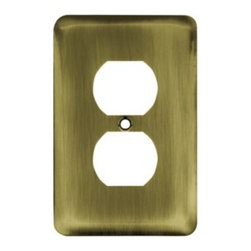 Liberty Hardware - Liberty Hardware 64111 Stamped Round WP Collection 3.15 Inch Switch Plate - Anti - A simple change can make a huge impact on the look and feel of any room. Change out your old wall plates and give any room a brand new feel. Experience the look of a quality Liberty Hardware wall plate.. Width - 3.15 Inch,Height - 4.9 Inch,Projection - 0.2 Inch,Finish - Antique Brass,Weight - 0.12 Lbs