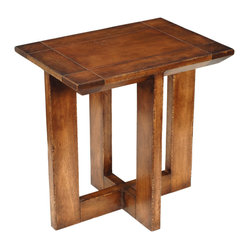 TerraSur - Monet End Table - The worn caramel finish is reminiscent of an old school desk, but that's the only old-fashioned element about this end table. The beveled edges and symmetrical crisscross base make it perfect for any corner of your house in need a little something special.