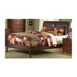 Homelegance - Rivera Upholstered Sleigh Bed (Full) - Choose Size: FullContemporary style. Dark brown vinyl upholstery. Made from select hardwoods and veneers. Warm brown cherry finish. Headboard: 48.5 in. H. Footboard: 14 in. H