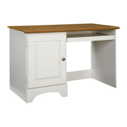 Standard Furniture - Standard Furniture Sunset Hill Student Desk in White with Birch Top - Traditional Cottage style charming white slat bed with a Youthful inspiration. Sunset Hill offers movement and style with decorative embossed flat panel door. Bun feet raise pieces off floor. The colonial white finish and cottage styling gives your room a cozy feel. The door dresser and five drawer chest allows for ample storage space. Underbed unit provides extra space for storage.