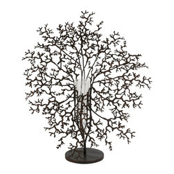 iMax - iMax Antigua Metal Coral with Glass Vase Centerpiece X-20448 - This bold conversation piece features a metal coral design and suspends a glass vase for holding your favorite elegant florals.