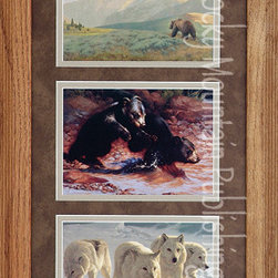 Rocky Mountain Publishing - Rowdy Boys, Greg Beecham Wildlife Art Framed Set - The  power  of  nature  can  be  seen  in  these  three  distinct  wildlife  art  images,  which  create  Rowdy  Boys  Triple.  The  first  image  shows  the  powerful  bear  as  he  wanders  through  an  early  morning  landscape.  Two  young  cubs  are  shown  at  play  in  the  second,  and  a  wolf  pack  on  a  journey  is  displayed  in  the  final.  Each  of  these  images  are  shown  in  a  variety  of  landscape  settings  and  a  variety  of  seasons.  From  the  glory  of  spring  to  the  chill  of  winter  this  collection  shows  how  animals  blend  as  part  of  nature.                  Dimensions:  Glass  and  Matting  measure  10x20  inches;  Exterior  Frame  dimensions  approximately  16x26  inches              Handsomely  matted  and  framed              Hardware  for  hanging  is  pre-installed              Treated  with  a  protective  coat  of  acid-free  sealant              Artist:  Greg  Beecham;  Allow  2  weeks  for  shipping