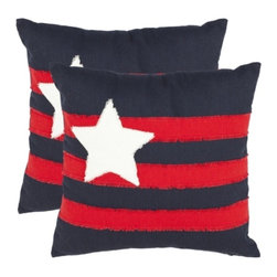 Safavieh - Conner Accent Pillow - Red,Black - Conner Accent Pillow - Red,Black