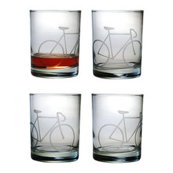 None - Bicycle Rocks Glasses (Set of 4) - Add some motion to your home barware collection with this set of four Bicycle Rocks Glasses. Each glass features a sand etched bicycle design which circles around the sham of the glass.