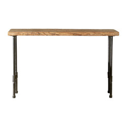 "Urban Wood Goods - Modern Industry Reclaimed Wood Console Table - Standard, 36"" x 11.5"" - Industrial inspired style in a table you can adjust to any size you prefer for your kitchen, dining room, for serving wine and cheese or just setting down your mail and keys. Use as a sofa table or hallway entry table. This charming, elegant but rustic table is created by skilled artisans out of a salvaged floor joist from a deconstructed barn, home or other structure in the Chicago metro area and midwestern states."