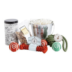 "Ballard Designs - Dog Gift Bucket with Rope Toy and Treats - FDA-approved treat tin is made from recycled steel with tight-fitting lid. Tennis balls are felt-covered, azo-free dyed. Recycled cotton rope is azo-free dyed and machine washable. A great gift for the dog owners in your life. Because every good dog deserves a treat. Keep your pup feeling well-loved with our 4-quart ""Good Dog"" gift bucket filled with carefully selected, eco-friendly goodies. Includes black toile treat tin with all-natural peanut butter treats, two red and one green natural rubber tennis balls, red cotton rope bone and green cotton rope tug. Dog Gift Bucket with Rope Toy and Treats features:. . . ."