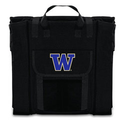 Picnic Time - University of Washington Stadium Seat in Black - The Stadium Seat is ideal for anyone who enjoys sporting events, concerts, or other arena activities. This padded seat is made of durable 600D polyester and provides maximum seat support, which is especially useful when sitting on hard bleacher seats or benches. EPE foam in the seat's core also insulates your seat from cold bleachers. A large zippered pocket keeps all of your essentials within reach. Convenient carry straps allows the seat to be carried as a folded tote. You'll want to take the Stadium Seat to every spectator event to ensure your seating comfort.; College Name: University of Washington; Mascot: Huskies; Decoration: Digital Print