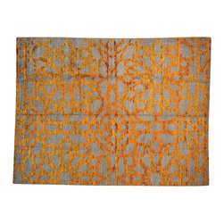 1800GetARug - Wool and Sari Silk Flower Design Hand Knotted Orange Oriental Rug Sh14625 - Our Modern & Contemporary collection contains some of the latest designs in the industry. The range includes geometric, transitional, abstract, and modern designs; from the Tibetans to the Gabbeh. We offer an entire line of contemporary designs, whether you're searching for sophisticated and muted to the vibrant and bold.