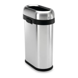 Simplehuman - simplehuman 50-Liter Slim Brushed Steel Open Can - This slim open can has an open lid design that makes it easy to toss in trash on the go. Made using sturdy stainless steel with a brushed finish.