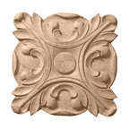 """Ekena Millwork - 6 1/2""""W x 6 1/2""""H x 1""""P Acanthus Rosette, Alder - Our rosettes are the perfect accent pieces to cabinetry, furniture, fireplace mantels, ceilings, and more.  Each pattern is carefully crafted after traditional and historical designs.  Each piece is carefully carved and then sanded ready for your paint or stain.  They can install simply with traditional wood glues and finishing nails."""