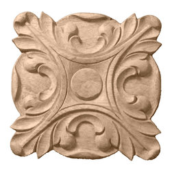 "Ekena Millwork - 6 1/2""W x 6 1/2""H x 1""P Acanthus Rosette, Alder - Our rosettes are the perfect accent pieces to cabinetry, furniture, fireplace mantels, ceilings, and more.  Each pattern is carefully crafted after traditional and historical designs.  Each piece is carefully carved and then sanded ready for your paint or stain.  They can install simply with traditional wood glues and finishing nails."
