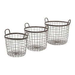 "Imax - Industrial Metro Wire Baskets - Set of 3 - *Dimensions: 9.5-11-12.5""h x 11.75-13.75-15.75""w x 11.75-13.75-15.75"""