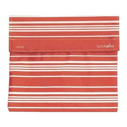 Lunchskins Sub Bag - Orange Horizontal Stripe - Stop throwing away plastic sandwich bags! An exhaustive design process has finally produced a reusable, machine washable, fun, and safe alternative: the LunchSkin. Each beautiful Orange Horizontal Striped LunchSkin has a Velcro seal and is manufactured right here in the USA from the same certified food-safe, durable fabric used in European patisseries and bakeries. This model is even large enough for a submarine sandwich! Reduce lunchtime waste with the LunchSkin!