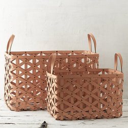 Woven Leather Basket - Designed and crafted exclusively for terrain, this diamond-weave leather basket with grommet details offers a luxurious and practical solution to storage around the house.