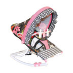 Hoohobbers - Hoohobbers Baby Rocker - Sleek Slate - 271-31 - Shop for Baby Bouncers and Jumpers from Hayneedle.com! For little girls who like pretty flowers and mom's who appreciate fun prints the Hoohobbers Baby Rocker - Sleek Slate is the perfect item for them to cuddle up in. The beautiful baby rocker's frame is made from virtually indestructible solid polypropylene with a full hood made from removable fabric with bright pink flowers on a slate-gray field accented with wavy pink and black crosscheck fabrics. It swings gently from front to back and a quick rotation of the stabilizer feet will adjust the range of motion. This rocker is water-resistant and perfect for use outdoors since there are no metal parts. The removable toy bar will divert your child with its white and pink spinning characters. The Hoohobbers Baby Rocker - Sleek Slate folds up to a slim 5 inches for easy portability and it's simple to assemble with the snap-together pieces. All fabric is machine-washable. Includes 1-year warranty. Weight capacity: 25 pounds. Sling dimensions: 14W x 24D inches.About HoohobbersBased in Chicago Hoohobbers has designed and manufactured its own line of products since 1981 beginning with the now-classic junior director's chair. Hoohobbers makes both hard goods (furniture) and soft goods. Hoohobbers' hard goods are not your typical furniture products; they fold are lightweight and portable and are made to be carried by children all around the house. Even outdoors Hoohobbers' hard goods are 100 percent water-safe. At the same time they are plenty durable and can take the abuse children often give. Hoohobbers' soft goods are fabric items ranging from bibs to bedding from art smocks to Moses baskets.Hoohobbers' products are recognized by independent third parties for their quality and performance. Hoohobbers has received Best Design Awards from America's Juvenile Products Association each time selected from more than 20 000 products. Hoohobbers has also received the Par