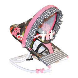 Hoohobbers - Hoohobbers Baby Rocker - Sleek Slate Multicolor - 271-31 - Shop for Baby Bouncers and Jumpers from Hayneedle.com! For little girls who like pretty flowers and mom's who appreciate fun prints the Hoohobbers Baby Rocker - Sleek Slate is the perfect item for them to cuddle up in. The beautiful baby rocker's frame is made from virtually indestructible solid polypropylene with a full hood made from removable fabric with bright pink flowers on a slate-gray field accented with wavy pink and black crosscheck fabrics. It swings gently from front to back and a quick rotation of the stabilizer feet will adjust the range of motion. This rocker is water-resistant and perfect for use outdoors since there are no metal parts. The removable toy bar will divert your child with its white and pink spinning characters. The Hoohobbers Baby Rocker - Sleek Slate folds up to a slim 5 inches for easy portability and it's simple to assemble with the snap-together pieces. All fabric is machine-washable. Includes 1-year warranty. Weight capacity: 25 pounds. Sling dimensions: 14W x 24D inches.About HoohobbersBased in Chicago Hoohobbers has designed and manufactured its own line of products since 1981 beginning with the now-classic junior director's chair. Hoohobbers makes both hard goods (furniture) and soft goods. Hoohobbers' hard goods are not your typical furniture products; they fold are lightweight and portable and are made to be carried by children all around the house. Even outdoors Hoohobbers' hard goods are 100 percent water-safe. At the same time they are plenty durable and can take the abuse children often give. Hoohobbers' soft goods are fabric items ranging from bibs to bedding from art smocks to Moses baskets.Hoohobbers' products are recognized by independent third parties for their quality and performance. Hoohobbers has received Best Design Awards from America's Juvenile Products Association each time selected from more than 20 000 products. Hoohobbers has also recei