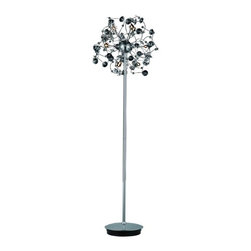 "PWG Lighting / Lighting By Pecaso - Geraldene 9-Light 20"" Crystal Floor Lamp 1761FL20C-EC - The Geraldene Collection adds a touch of whimsy to interiors. Clusters of crystal flowers sparkle on delicately designed chrome finished frames."