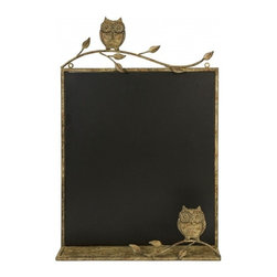 "IMAX - Adeline Chalkboard Wall Decor - In a warm honey toned metal frame, the Adeline owl chalkboard adds a bit of whimsy to kitchen areas and children's play areas. Item Dimensions: (26.5""h x 17.75""w x 3"")"