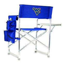 """Picnic Time - West Virginia University Sports Chair in Navy - The Sports Chair by Picnic Time is the ultimate spectator chair! It's a lightweight, portable folding chair with a sturdy aluminum frame that has an adjustable shoulder strap for easy carrying. If you prefer not to use the shoulder strap, the chair also has two sturdy webbing handles that come into view when the chair is folded. The extra-wide seat (19.5"""") is made of durable 600D polyester with padding for extra comfort. The armrests are also padded for optimal comfort. On the side of the chair is a 600D polyester accessories panel that includes a variety of pockets to hold such items as your cell phone, sunglasses, magazines, or a scorekeeper's pad. It also includes an insulated bottled beverage pouch and a zippered security pocket to keep valuables out of plain view. A convenient side table folds out to hold food or drinks (up to 10 lbs.). Maximum weight capacity for the chair is 300 lbs. The Sports Chair makes a perfect gift for those who enjoy spectator sports, RVing, and camping.; College Name: West Virginia University; Mascot: Mountaineers; Decoration: Digital Print; Includes: 1 detachable polyester armrest caddy with a variety of storage pockets designed to hold the accessories you use most"""