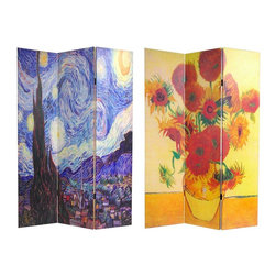 "Oriental Furniture - 6 ft. Tall Double Sided Works of Van Gogh Canvas Room Divider - Starry Night/Sun - A unique folding floor screen, bursting with strong colors and interesting shapes. A reproduction of a photograph of part of Van Gogh's ""Starry Night"" on one side and ""Sunflowers"" on the other. These bright, powerful images are printed onto portable, durable, 3 panel canvas room dividers. An artistic, decorative accent, and a great way to introduce rich colors into spare modern interior design and decor. Funky and contemporary, as well as a practical, effective, folding floor screen."